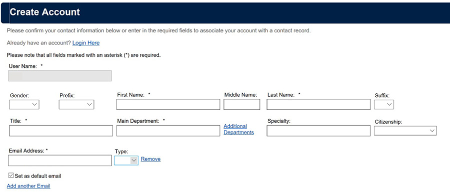 Screenshot of online disclosure form